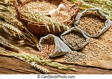 borse, closeup, grani cereale