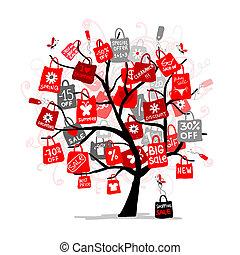borse, concetto, shopping, albero grande, vendita, tuo, disegno