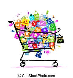 borse, concetto, shopping, grande, vendita, disegno, cesto, tuo
