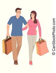 borse, coppia, portante, shopping