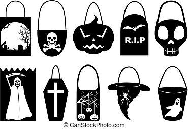 borse, differente, set, halloween, trucco, trattare, o