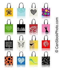 borse, disegno, set, shopping, tuo