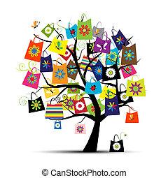 borse, disegno, shopping, tuo, albero