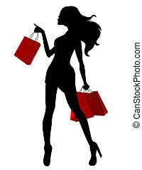 borse, donna, silhouette, giovane, nero rosso