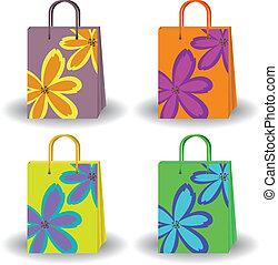 borse, luminoso, set, shopping