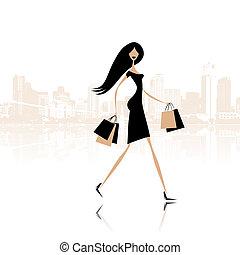 borse, moda, shopping, strada città, ragazza