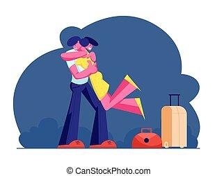 borse, ragazza, amore, viaggiare, valigie, carattere, giovane, presa a terra, riunione, appartamento, donna, friendship., illustrazione, riscaldare, riunione, caratteri, mani, cartone animato, uomo, bagaglio, vettore, maschio, abbracciare