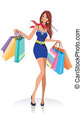 borse, ragazza, moda, shopping, giovane