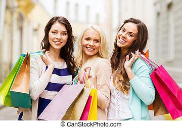 borse, ragazze, shopping, ctiy