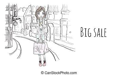 borse, schizzo, shopping, city., giovane, illustrazione, vettore, strada, ritratto, ragazza, style.