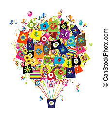borse, shopping, concetto, balloon, aria, disegno, tuo