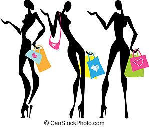 borse, shopping, donne, illustrazione