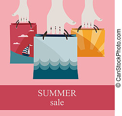 borse, shopping, estate, vendita, sales., tenere mani, promuovere