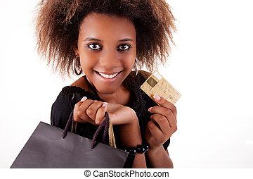 borse, shopping, scheda, colpo., isolato, credito, nero, fondo., studio, ragazza, bianco, felice