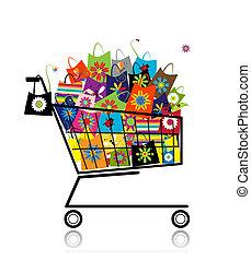 borse, shopping, supermercato, disegno, carrello, tuo