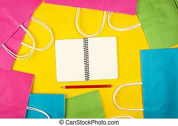 borse, shopping, vuoto, carta quaderno, fogli, multi-colored, bianco, aperto