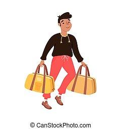 borse, tipo, giovane, illustrazione, turista, vacanza, correndo, uomo, andare, viaggio, cartone animato, vettore, estate