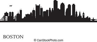 boston, siluetta skyline, fondo, città
