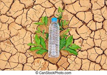 bottiglia acqua, fondo, arido, bere