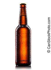 bottiglia acqua, isolato, birra, gocce, bianco