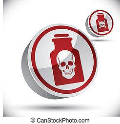 bottiglia, icon., veleno, cranio, 3d