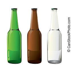 bottiglie, birra, vettore