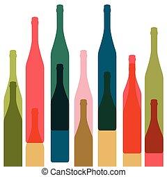bottiglie, colorare, vettore