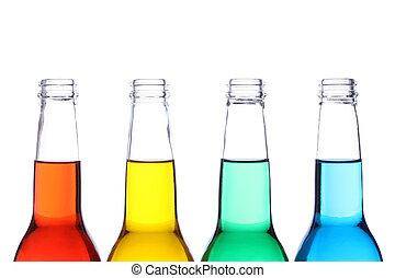 bottiglie, colorato, isolato