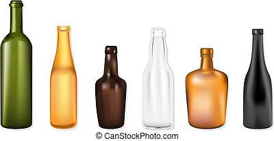 bottiglie, illustrazione, vettore