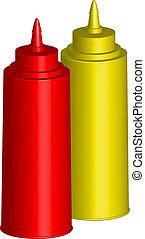 bottiglie, ketchup, senape