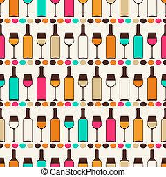 bottiglie, modello, seamless, glasses., retro, vino