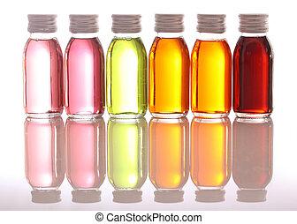 bottiglie, olii essenziali