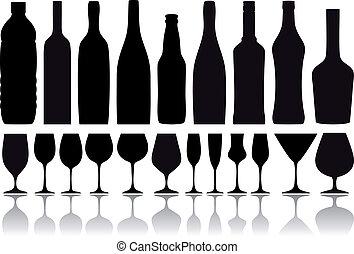 bottiglie, vettore, occhiali, vino