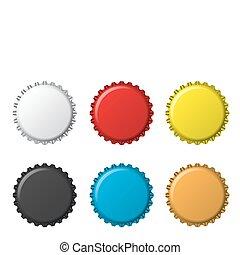 bottlecaps, colori, isolato