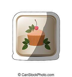 bottone, adesivo, quadrato, foglie, cupcake