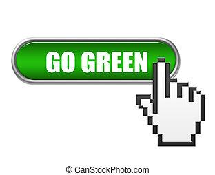 bottone, andare, verde