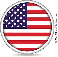 bottone, bandiera, americano