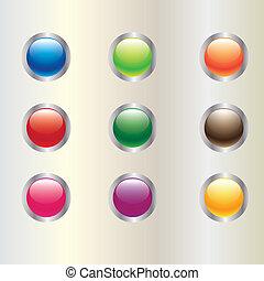 bottone, cerchio, lucido