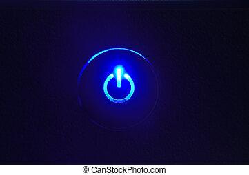 bottone, closeup, monitor, potere