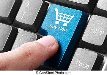 bottone, comprare adesso, tastiera