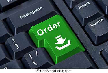 bottone, computer, verde, ordine, keyboard.