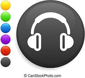 bottone, cuffia, icona, rotondo, internet
