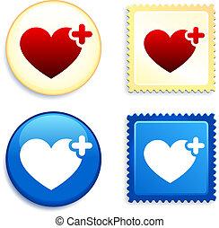 bottone, cuore, medico, francobollo