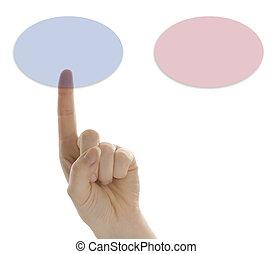 bottone, dito, scegliere