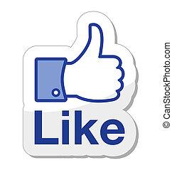 bottone, facebook, esso, come