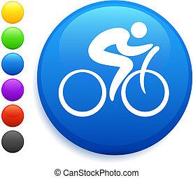 bottone, icona, rotondo, ciclista, internet