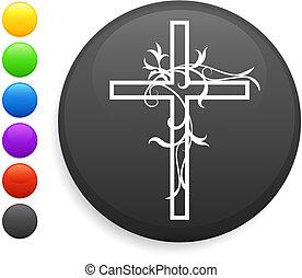 bottone, icona, rotondo, croce, internet