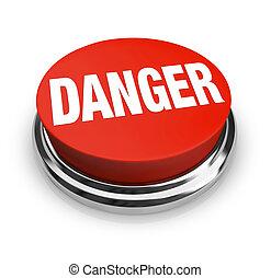 bottone, -, pericolo, parola, essere, rotondo, attenzione, rosso, uso, allarme
