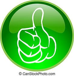 bottone, pollice verde, su