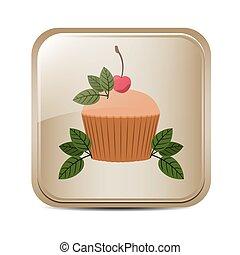 bottone, quadrato, foglie, cupcake